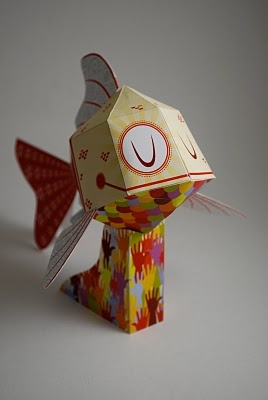 Paper koi. #custompapertoys.com #paper toy of the month