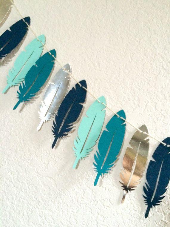 Feather Garland Tribal Nursery Decor Blue by LePaperdashery