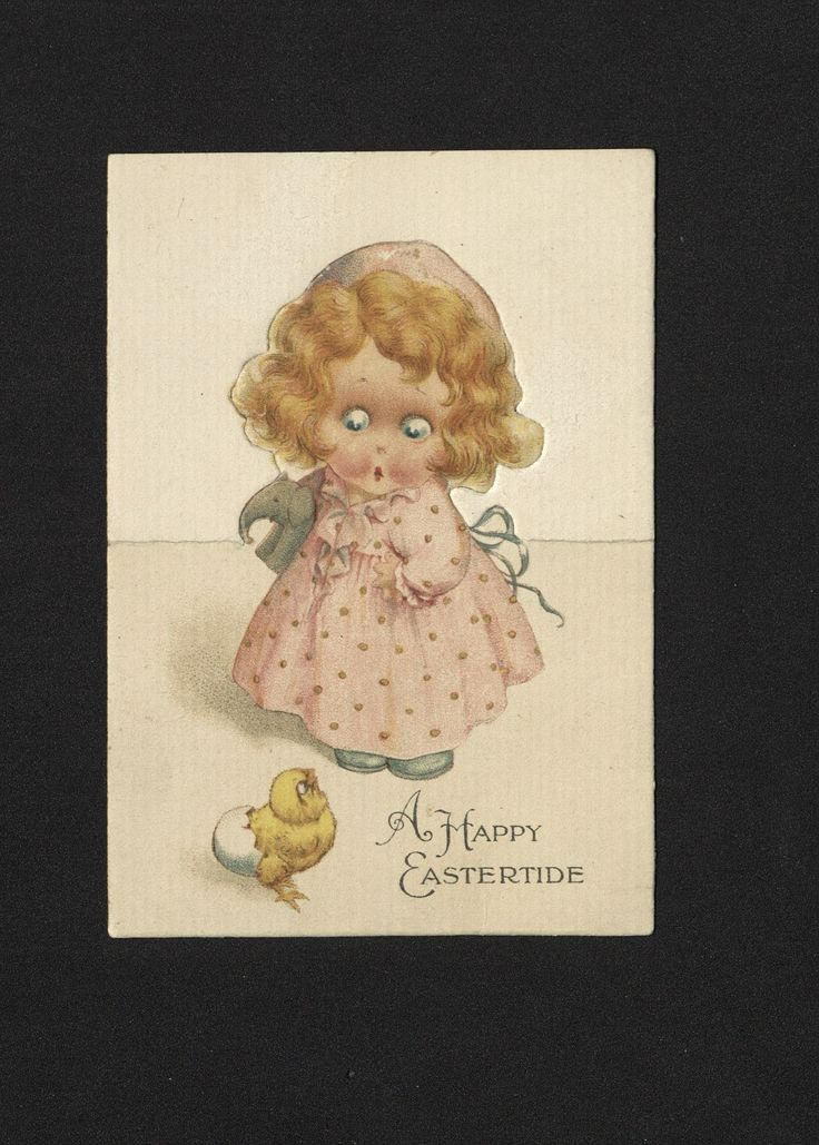 'A Happy Eastertide' Easter Card. 19th century