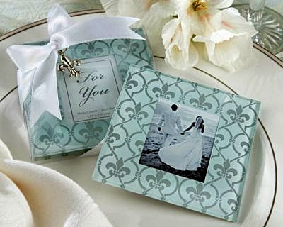 Fleur De Lis Frosted Glass Photo Coaster Wedding Favors Bring An Unmistakable Elegance To Any Table Put Your Favorite Or A Place Card In This
