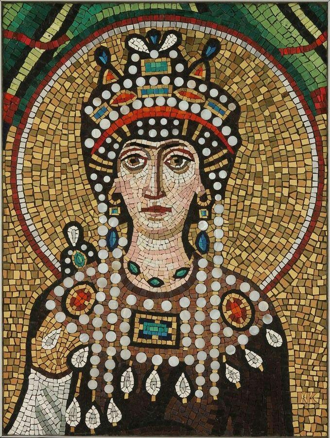 "Empress Teodora"" Mosaic by Michael Kruzich. Reproduction from San Vitale, Ravenna, Italia. | via mosaicartsupply.com"