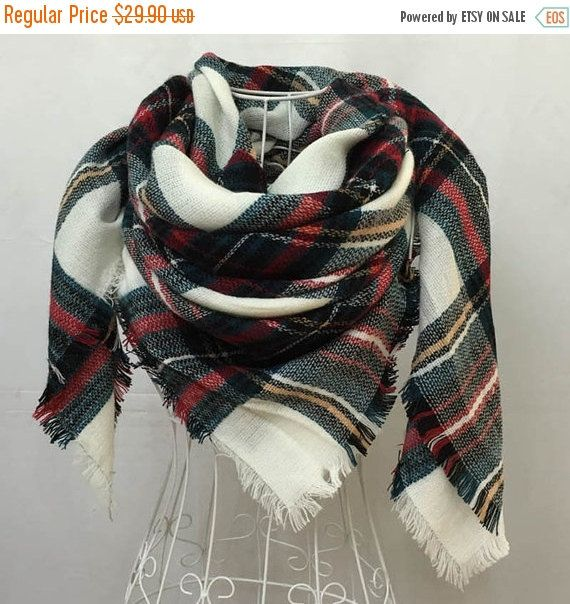 Christmas Sale Plaid Blanket Scarf Christmas by NORTEstylelikeyou