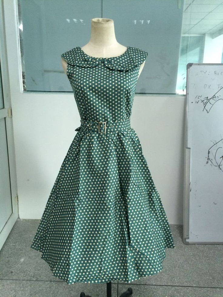 free shipping  ladies promotion style  1950s collar green polka dot  vintage  dress rockabilly  S-4XL