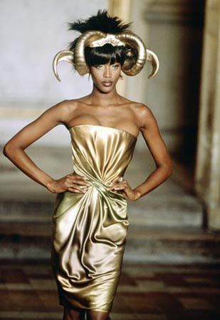 Givenchy Haute Couture S/S 1997 - Alexander McQueen's 1st collection for Givenchy. Model Naomi Campbell. (I almost cropped the headpiece.)