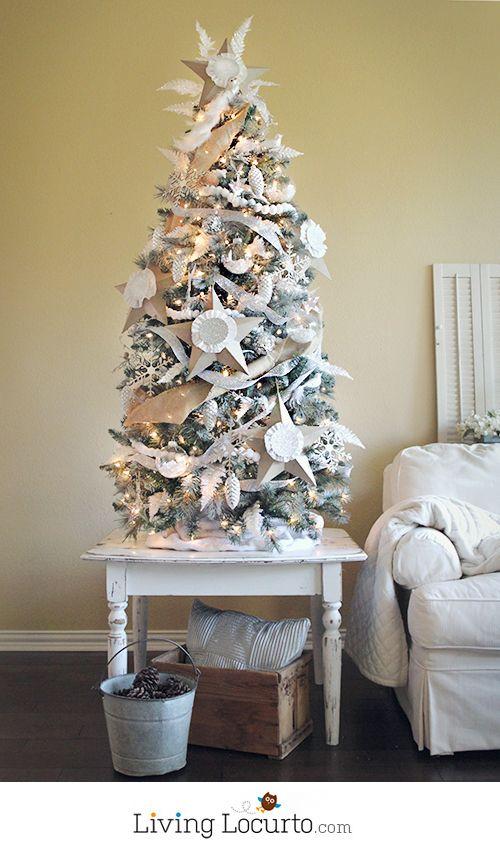 DIY White Painted Christmas Tree by LivingLocurto.com - Michaels Dream Tree Challenge #christmas