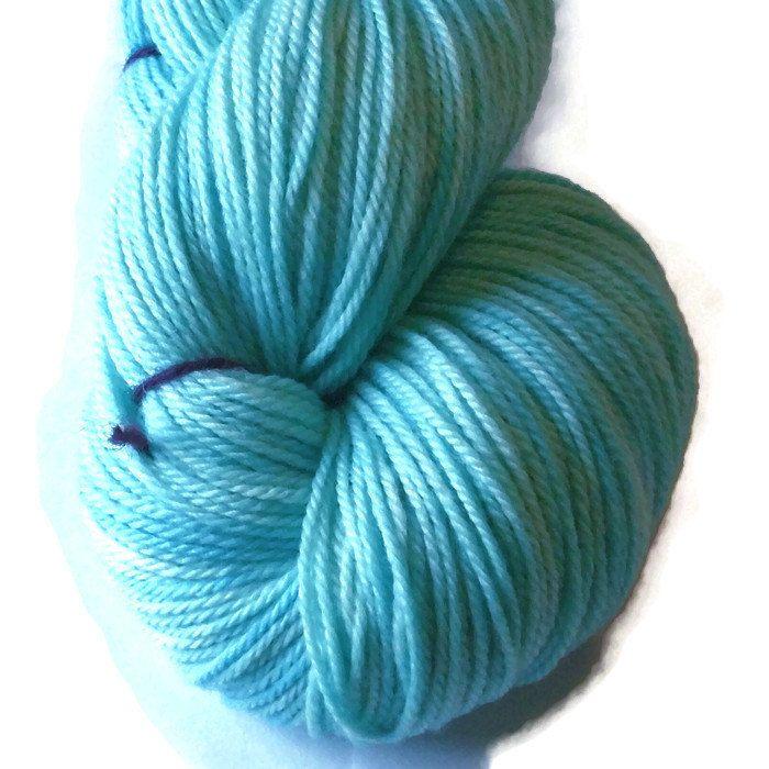 Turquoise Delight Superwash Merino Yarn - Turquoise Hand Dyed Yarn - Turquoise DK Merino Yarn - Turquoise Double Knit 3 Ply Yarn Turquoise