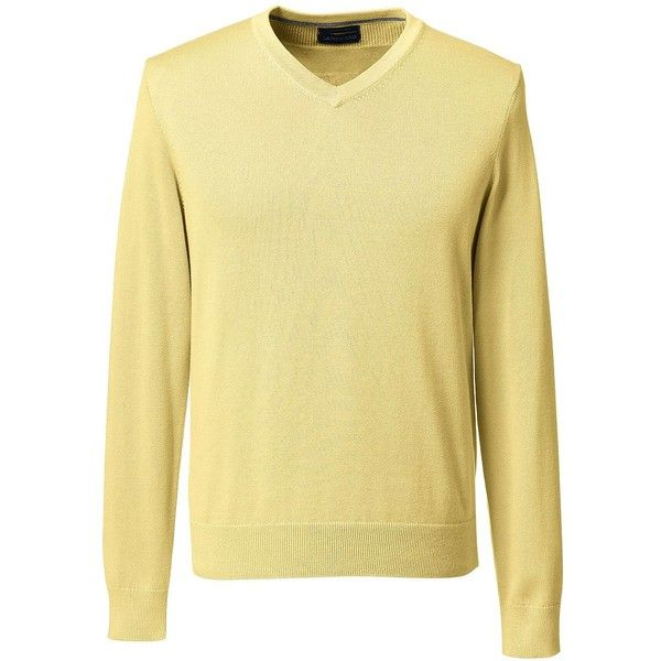 Lands' End Men's Tall Classic Fit Fine Gauge Supima Cotton V-neck... (41 CAD) ❤ liked on Polyvore featuring men's fashion, men's clothing, men's sweaters, yellow, mens tall sweaters, men's cotton v neck sweater, mens v neck sweater, mens sweaters and mens vneck sweater
