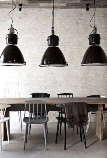 nordic dining room + oversize pendant lighting