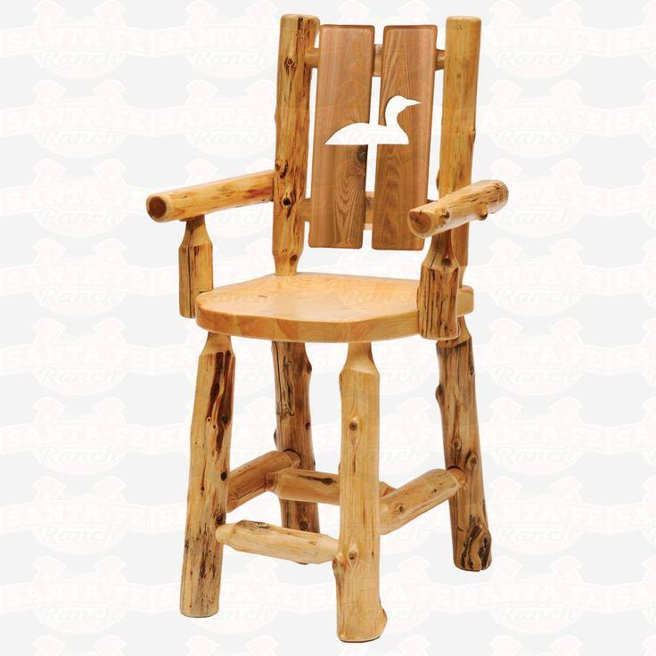 Fireside Lodge Furniture Cedar Cut-Out Log Counter Height Arm DiningChair #rustic #rusticfurniture      http://www.santaferanch.com/