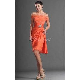 Sheath/Column Off The Shoulder Short/Mini Orange Lace Bridesmaid Dresses(BD424) - Change colour to pale pink and make it floor length-LOVE IT!!