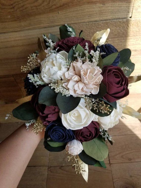 Custom Navy Burgundy Blush Wedding Bouquet Sola Wood Flowers And
