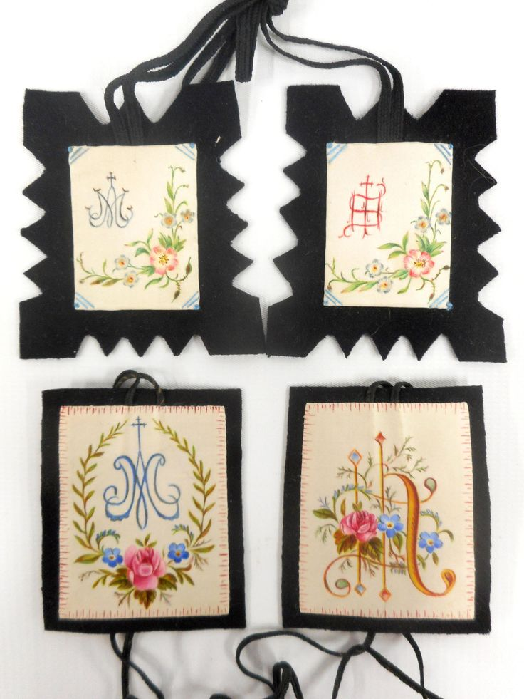Lot of 4 Antique Hand Painted and Embroidered Necklaces, Silk Square Blocks, Catholic Ceremonies and Pilgrimage, Gothic Churh Emblems