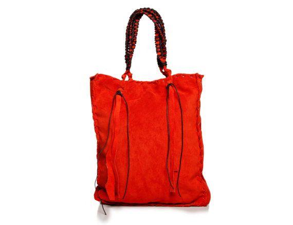 Red  Orange Tote Bag  Macrame Handles  Italian by EleannaKatsira, €255.00
