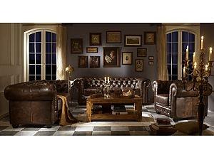 Ensemble canapé Chesterfield 1+2+3, cuir véritable