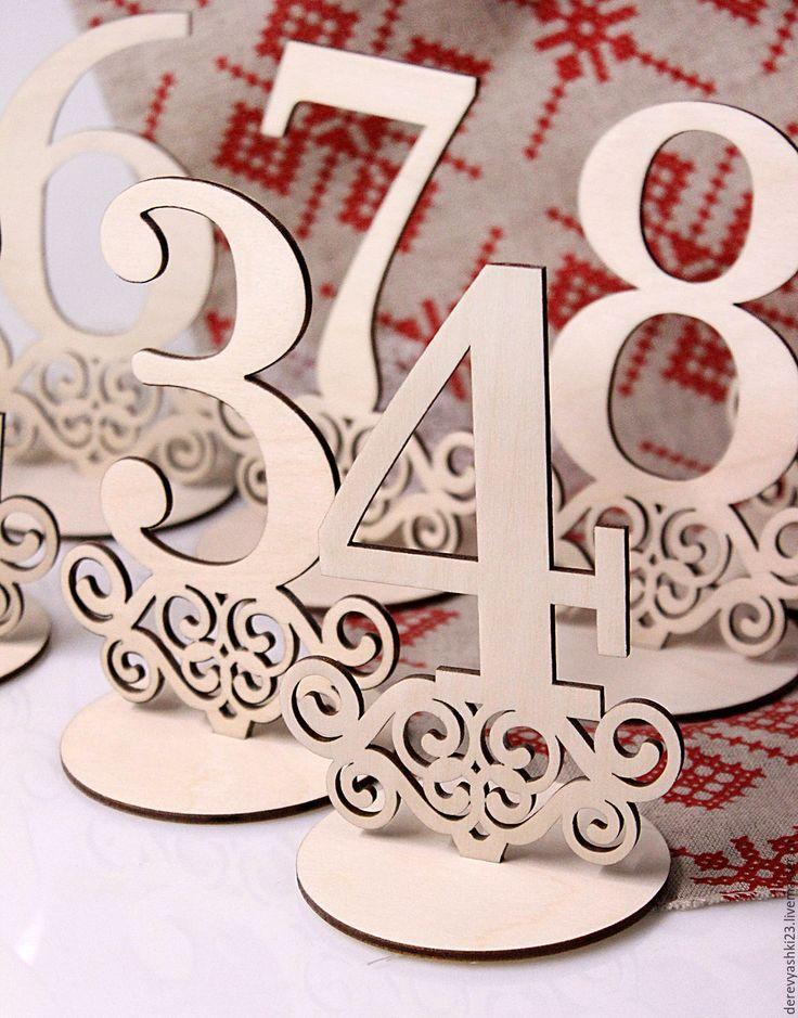 Купить Цифры на стол - бежевый, цифры на стол, на стол, на свадебный стол, деревянные цифры, цифра