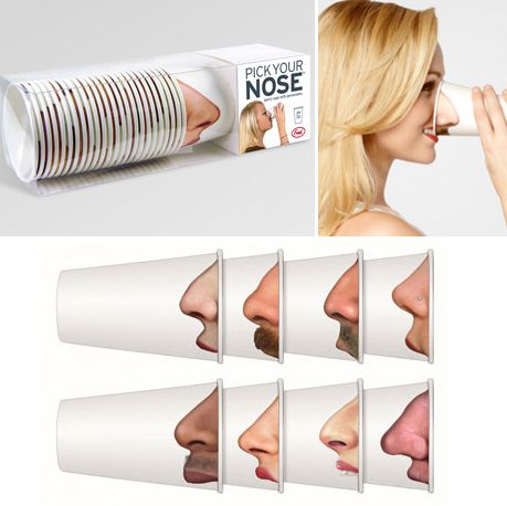 Delight friends and family with this set of funny drinking cups printed with photo-realistic images of noses. When sippers tip their heads to take a drink, it appears they've grown a different nose and sometimes even a mustache. The pack includes a total of 24 cups, evenly divided between male and female noses. Twelve different nose designs keep things fresh and exciting.    Buy $10.50