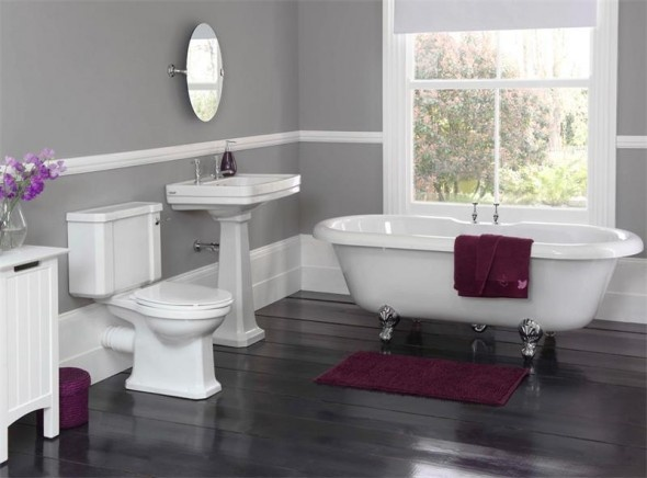 Corner tub bathroom pictures stylish stunning bathroom for Grey and purple bathroom ideas