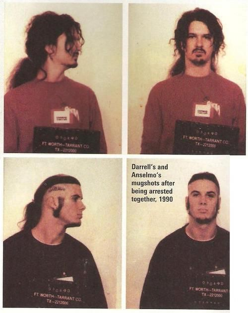 Dimebag Darrell and Phil Anselmo mugshot- I fucking love these two. RIP Dimebag<3