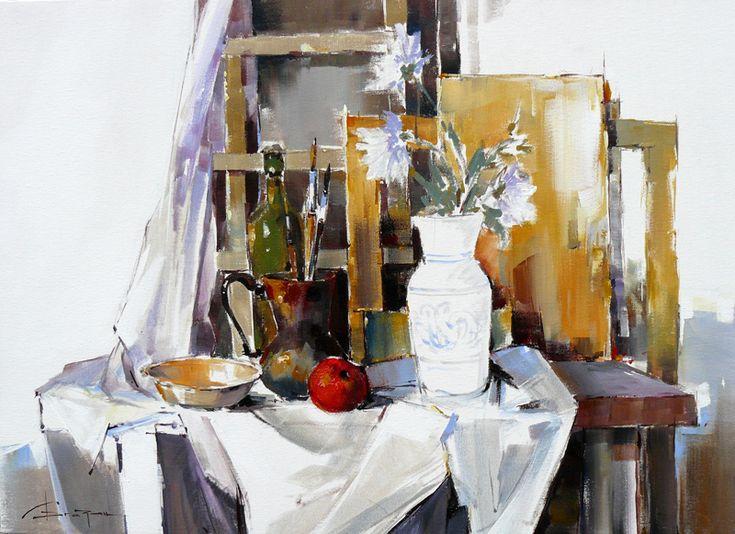 Corneliu-Drăgan-Târgovişte - Natură moartă cu măr / Still life with apple, 70 x 60 cm, acryl pe pânză / acryl on canvas