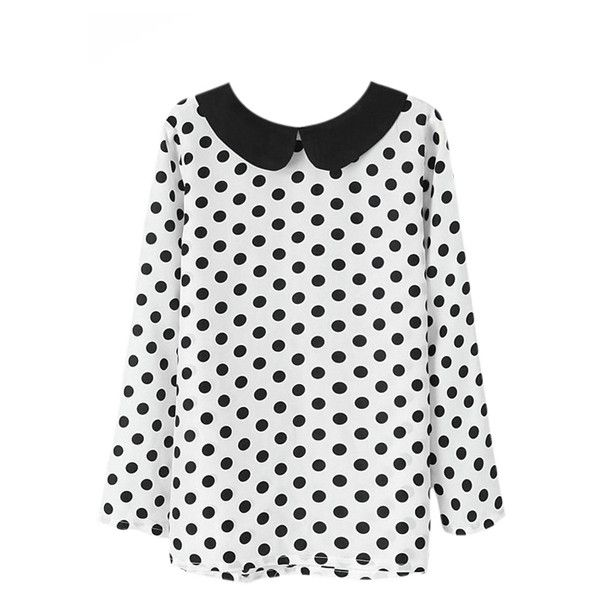 Polka Dots Print White Blouse (€23) ❤ liked on Polyvore featuring tops, blouses, romwe, shirts, dot top, white top, dotted shirts, polka dot top and white blouse
