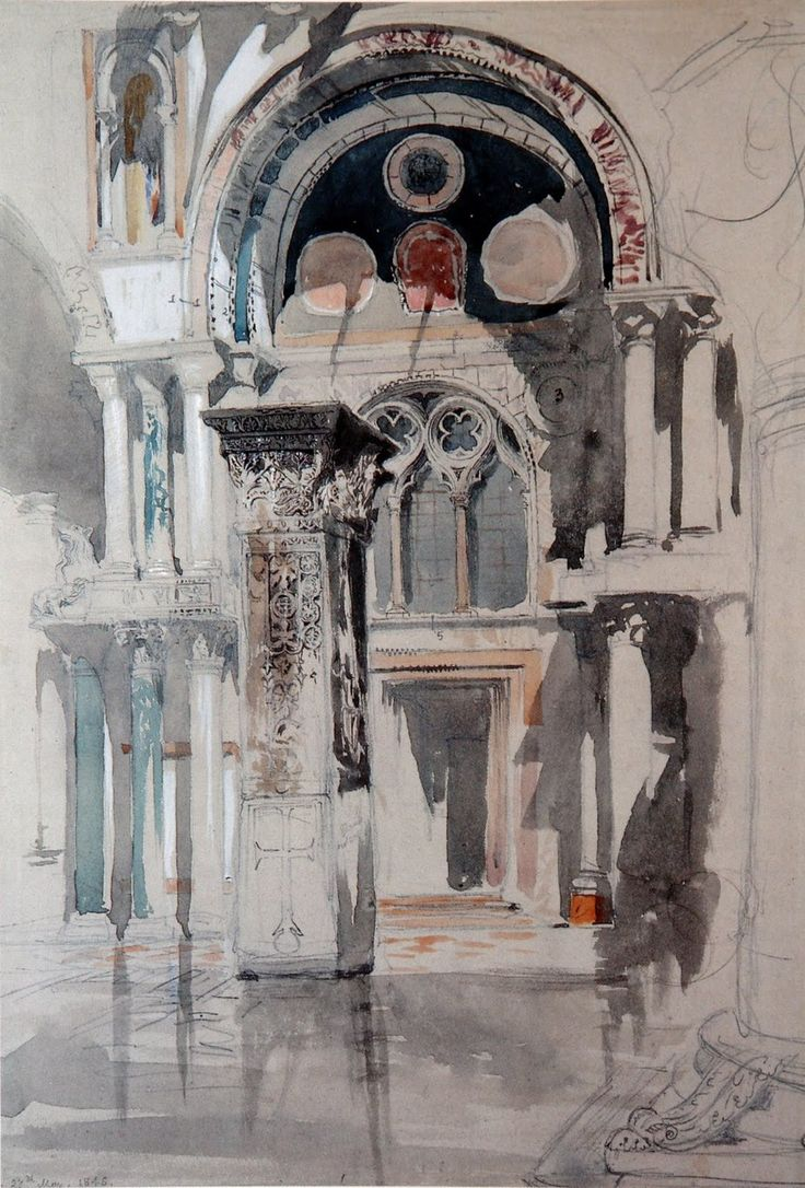 St Mark's, Venice. Sketch after rain (1846) - John Ruskin