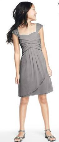 Grey Dress perfect for older Flower Girl or JR Bridesmaid. (the grey color in stores only) http://www.davidsbridal.com/Product_Sleeveless-Short-Mesh-Dress-with-Side-Cascade-JB5657_Bridal-Party-Bridesmaids-Junior-Bridesmaids