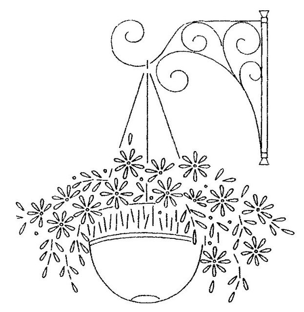 How To Draw A Beautiful Flower Basket : Embroidery ?izimler hanging baskets