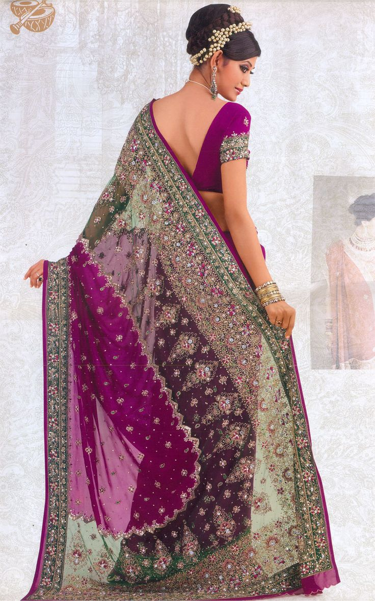 purple indian sari