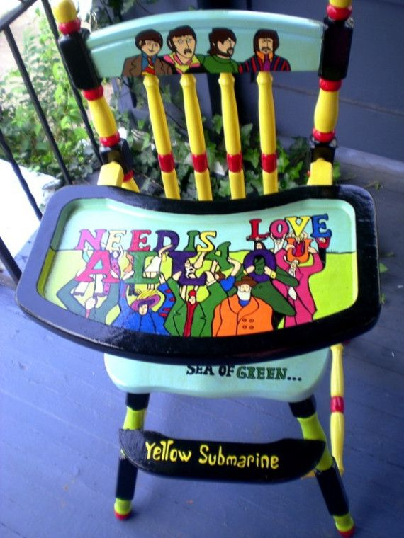 Yellow Submarine painted high chair.  I wouldn't paint mine quite like this...but I would paint it...