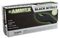Ammex ABNPF - Nitrile Gloves - 100 a box, Disposable Gloves, Powder Free, Latex Free, Exam Grade, Non Surgical, 3 mil Thickness, Black, Medium, ABNPF44100-BX (Box of 100)