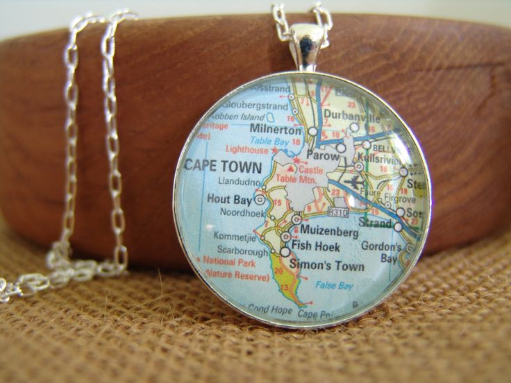 38 mm Round Silver Plated Bezel Necklace that has a map of Cape Town, South Africa by PurelySublime on Etsy