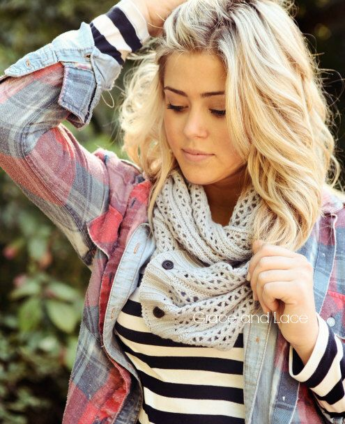 Nellie Knit Scarf - LT. GREY - open weave knit scarf with button closure infinity scarf - chunky scarf - knit infinity scarf - button scarf by GraceandLaceCo on Etsy https://www.etsy.com/listing/158175493/nellie-knit-scarf-lt-grey-open-weave
