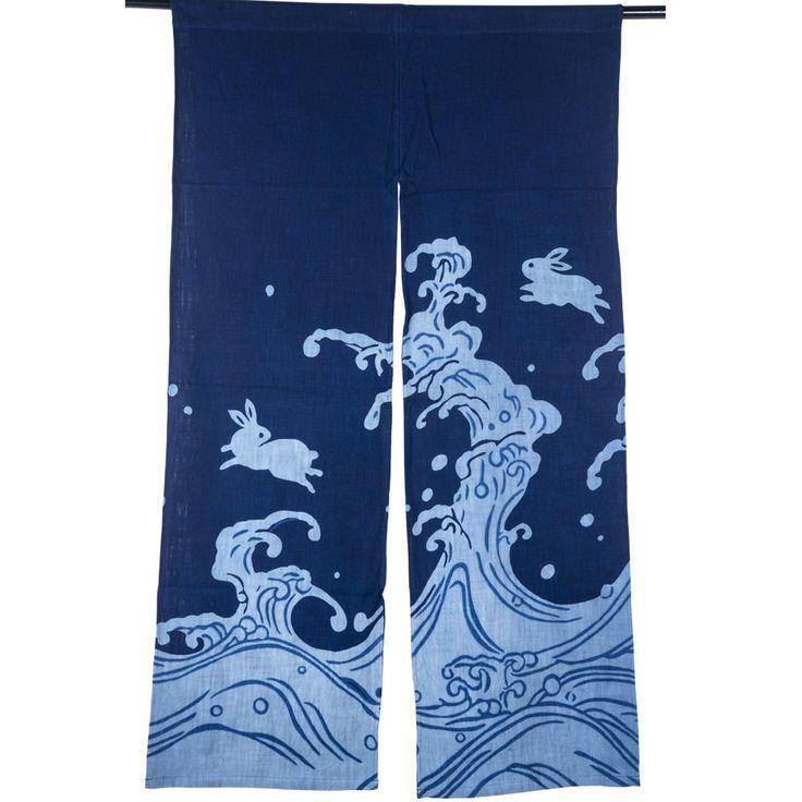 Blue Door Tapestry Japanese Noren Curtain Long- Jumping Rabbits, Linen, $30.99
