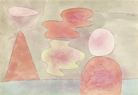 Paul Klee - Aussicht; Creation Date: 1934; Medium: watercolour, pink wax crayon and charcoal on paper; Dimensions: 33.02 X 47.94 cm.