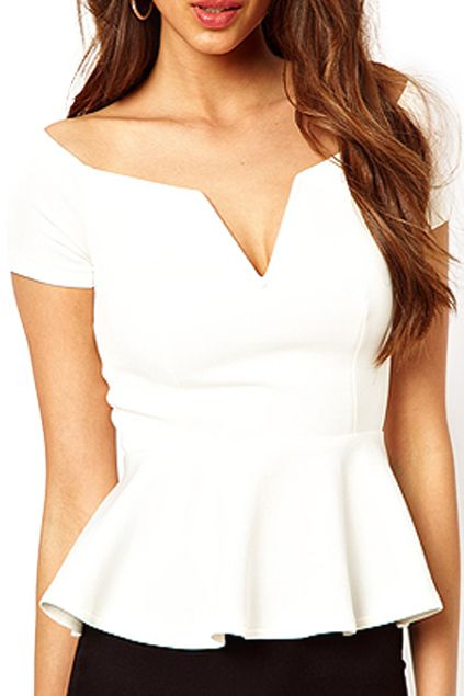 ROMWE Flouncing Cut-out Off-shoulder White Blouse Mobile Site