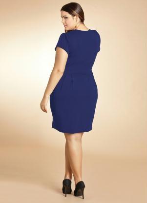 Vestido Azul Marinho com Decote Transpassado - Posthaus