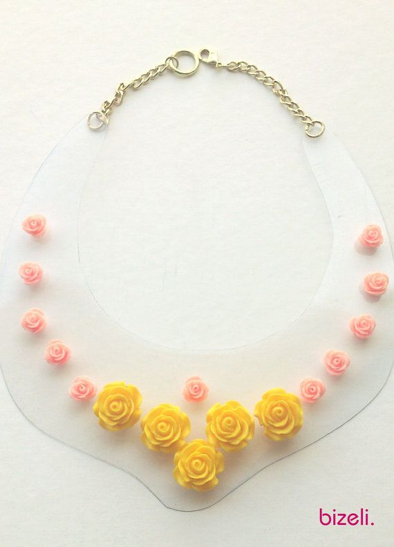 Handmade statement necklace with beautiful plastic roses by bizeli, €20.00