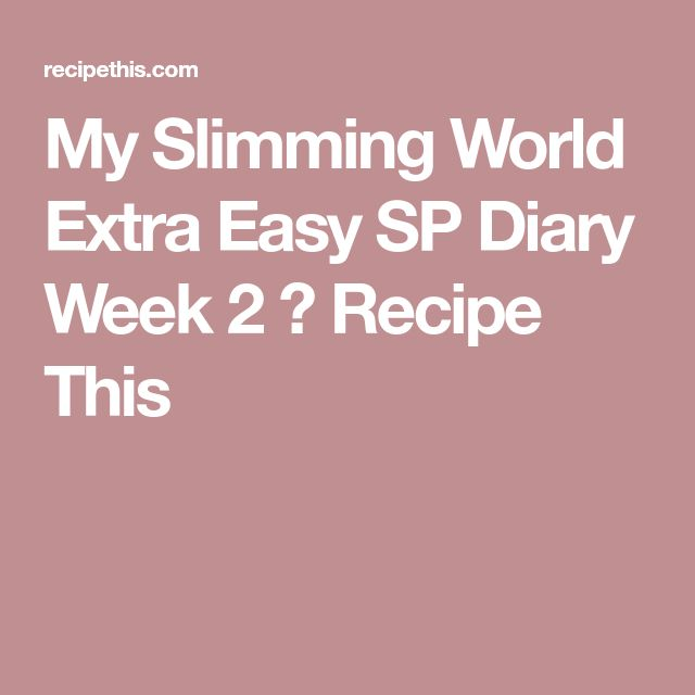 My Slimming World Extra Easy SP Diary Week 2 ⋆ Recipe This
