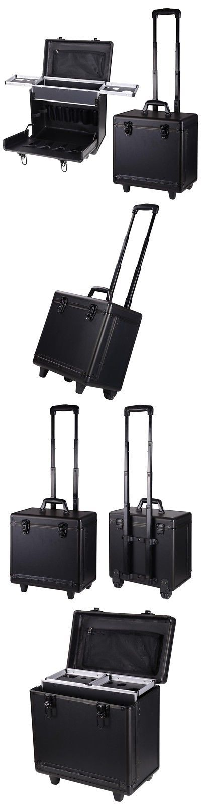 Rolling Makeup Cases: Pvc Hair Makeup Train Case Baber Salon Clipper Trimmer Tool Appliance Box Black -> BUY IT NOW ONLY: $53.99 on eBay!