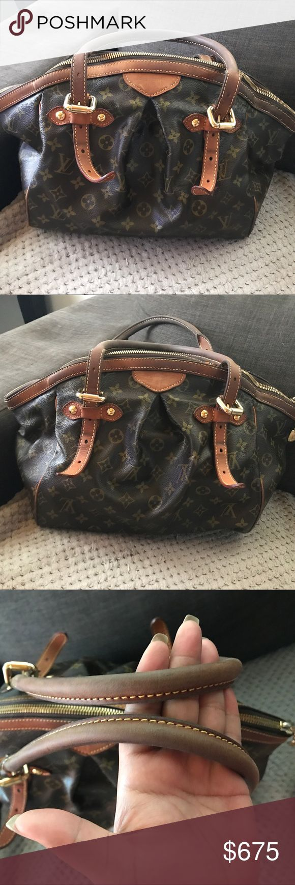 Louis Vuitton Tivoli GM Louis Vuitton Tivoli GM preloved. Handles have darkened and has small cracks on canvas as pictured (where bag folds). Was previously authenticated by memes treasure. Louis Vuitton Bags Totes