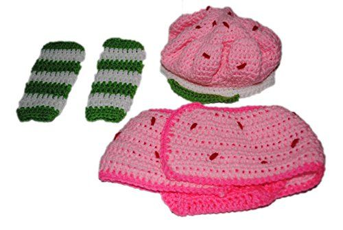 Infant Strawberry Shortcake Inspired Beanie Hat Leg Warmers & Diaper Cover SET Halloween Costume Photo Prop  - Click image twice for more info - See a larger selection of little girl skirt sets at http://girlsdressgallery.com/product-category/skirt-sets/ - girls,toddler,little girls clothing, little girls fashion, little girls dress, little girls fashion, baby, gift ideas