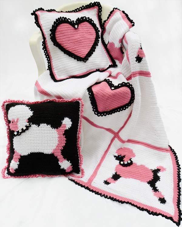 Poodles and Hearts Afghan and Pillows Crochet Pattern, available exclusively from Maggie's Crochet.
