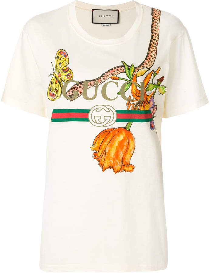 d91a0499d5e Gucci Logo T-shirt with floral and snake print color white beige off white