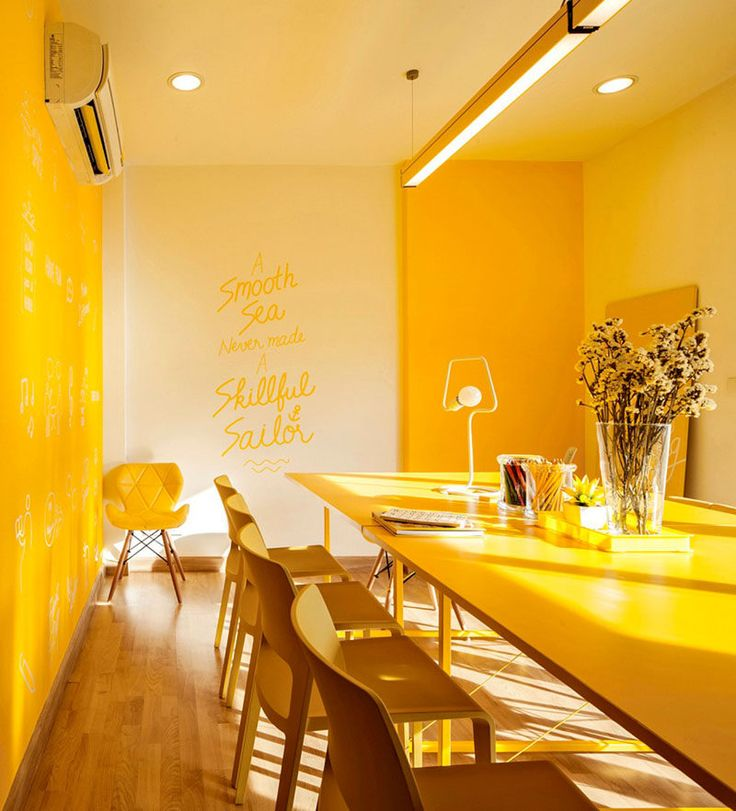 10 Examples Of Monochromatic Interiors Meetings Are Made Much More Cheerful In This Yellow Office Interior Designdesign
