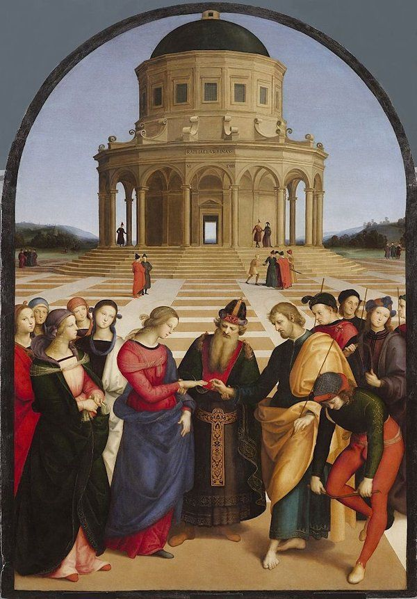 """""""The Wedding of the Virgin"""" altarpiece by Raphael - Linear perspective was invented in the XV century, allowing artists to make paintings that looked like they had depth and receding elements. Linear perspective is the idea that converging lines will meet at a vanishing point in the painting. Leon Battista Alberti (1404-1472) developed  a linear perspective mathematical  theory that he published in his book Della Pittura."""