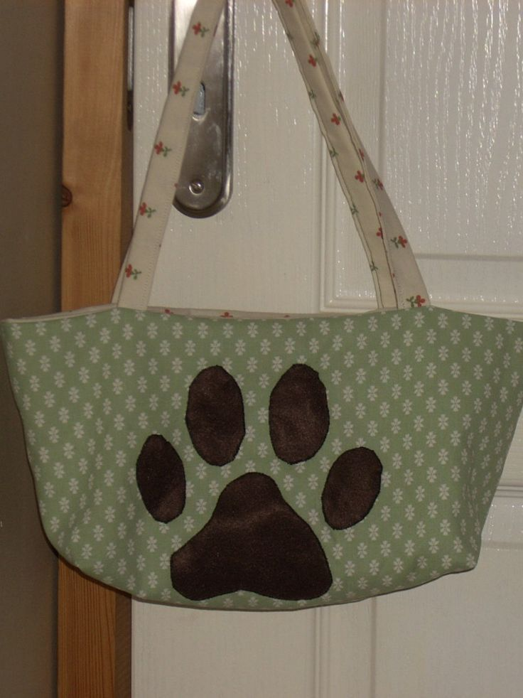 Paw print bag, Handmade Laura Ashley bags, Small bags Green fabric, Vintage material, dog lover gift, fully lined sewing gift, home made