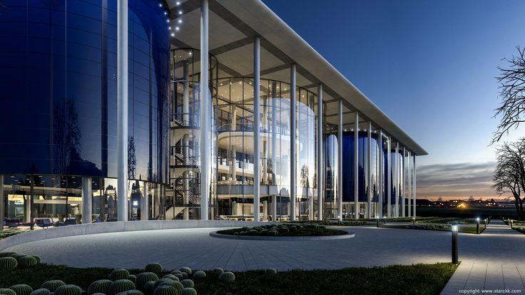 render/infografía 3d edificio de oficinas /office building realizado por www.starckk.com