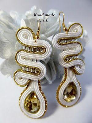 Hand made by EL:  Kolczyki białe ze złotem,idealne na wieczór,wyj...