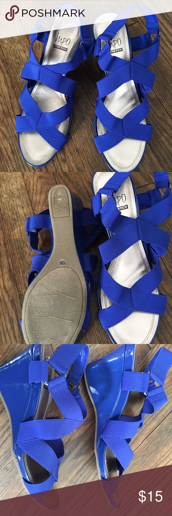 Ladies wedged sandal Worn once briefly. Super cute wedged sandal. Royal blue. No marks or scuffs of any kind. Stretchy elastic straps which are great for someone like me whose feet tend to swell at times! Impo Shoes Wedges