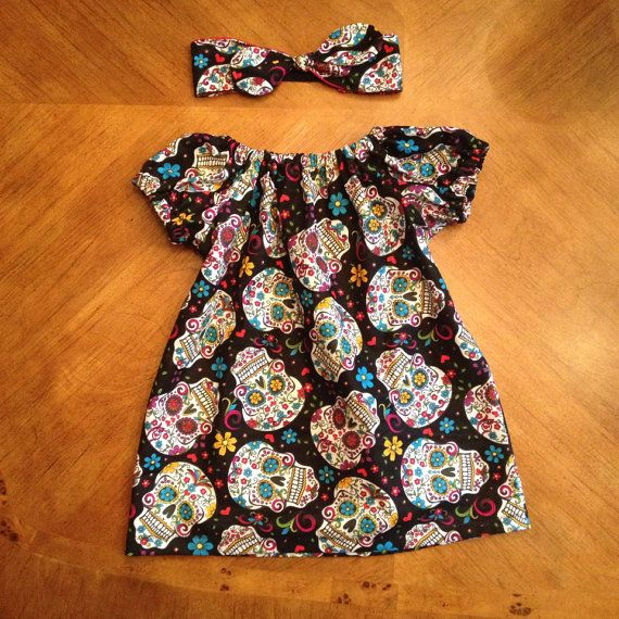 Sugar skull peasant dress for baby/toddler (2 colors available) newborn- 24 months  on Etsy, $20.00